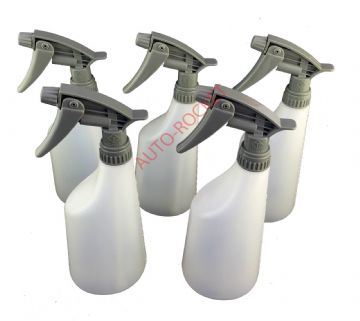 650ml spray bottles & Grey chemical resistant trigger heads - x 5